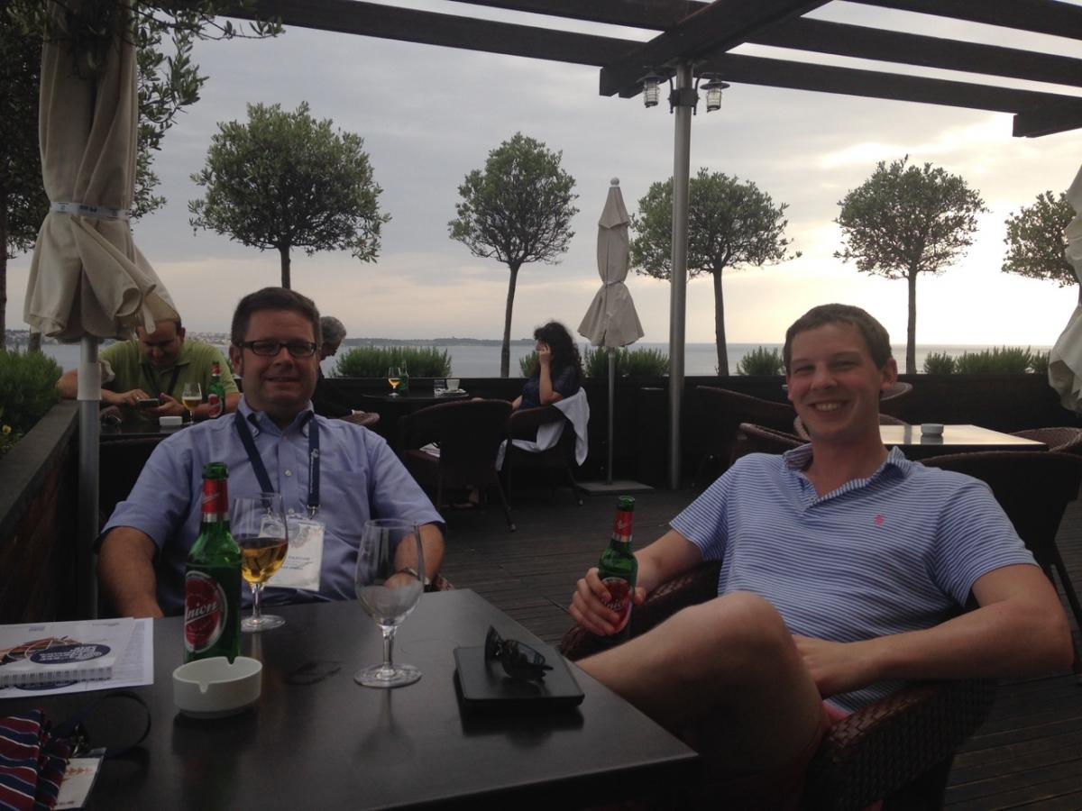Group members enjoying a break in Piran, Slovenia during the Escape 26 Conference.