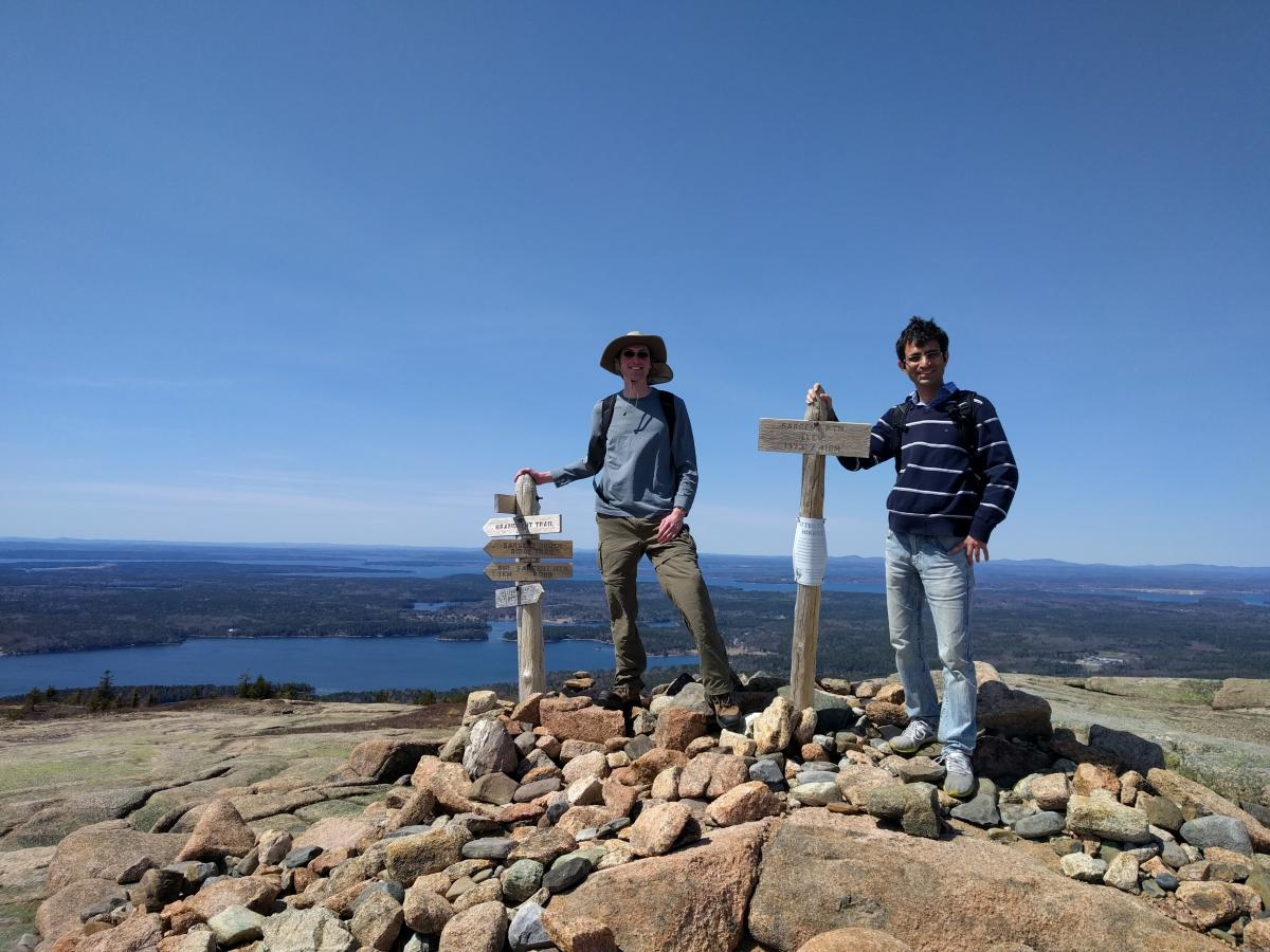 Group members celebrating Rebels Day by hiking Mount Sargent in Acadia National Park.